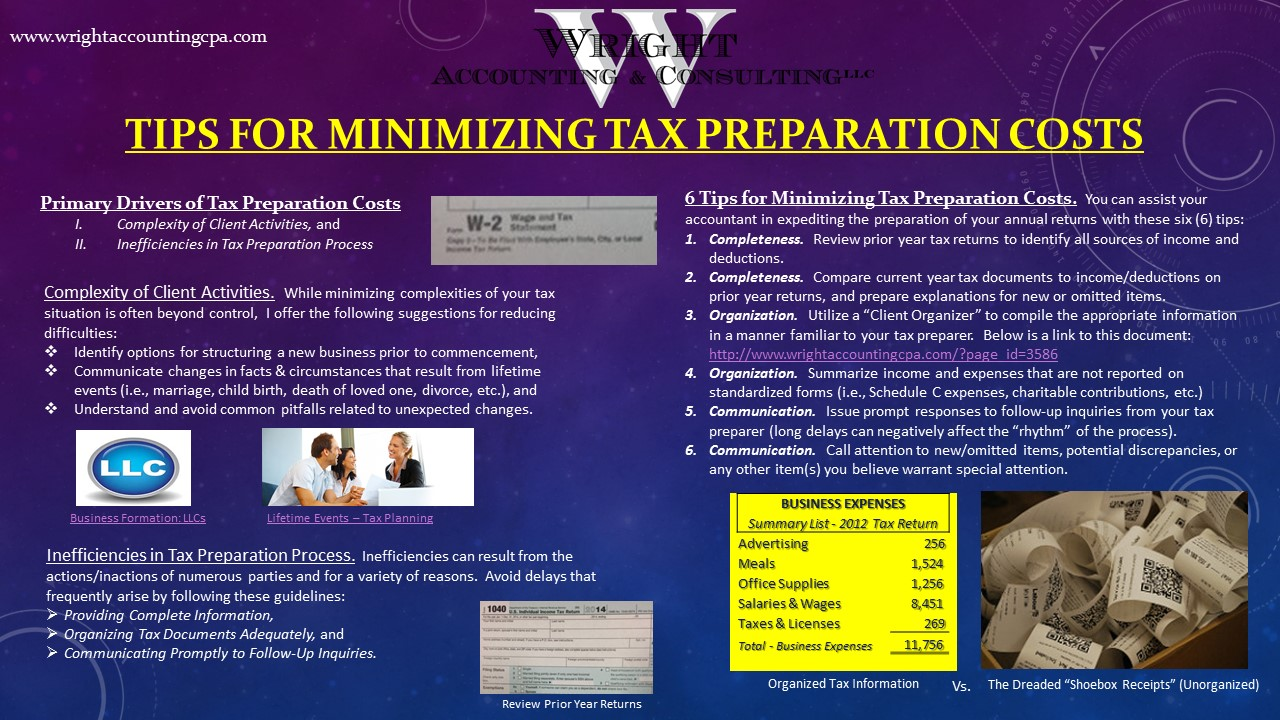 Infographic - Tips for Minimizing tax preparation costs