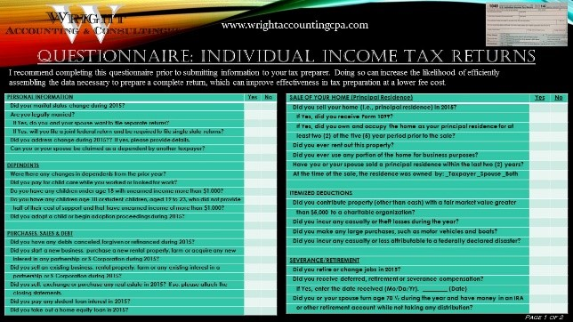 Questionnaire Individual Tax Returns