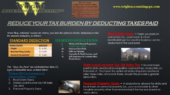 Reduce Taxes Deduct Taxes Paid
