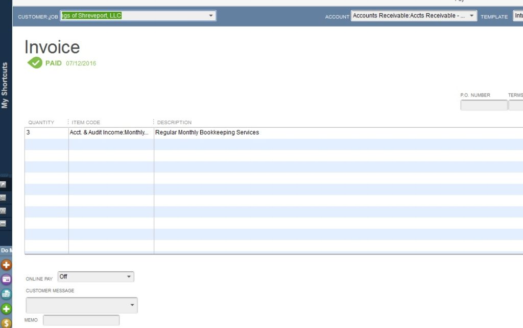 Creating an Invoice in Quickbooks