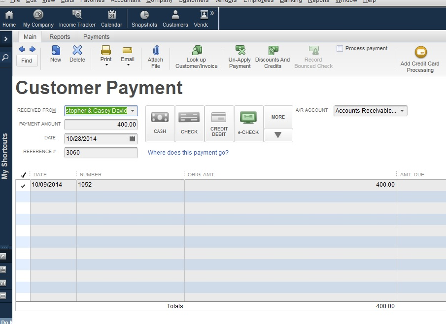 Receiving a Payment in Quickbooks