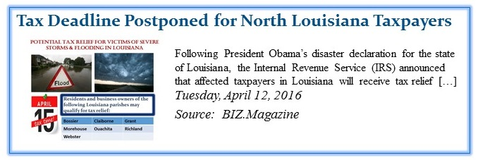 Tax Deadline Postponed for North Louisiana Taxpayers crop